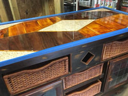 Pour Top Wood and Granite Console