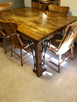Oak & Vintage Iron Accent Dining Table