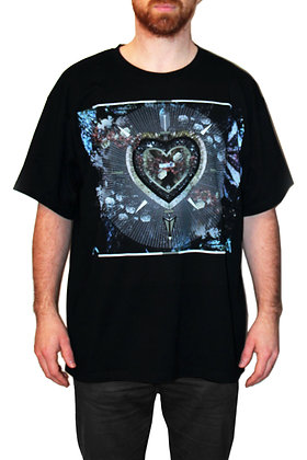 BLACK OVERSIZE TEE-SHIRT / R.S.H.HEART-RAY