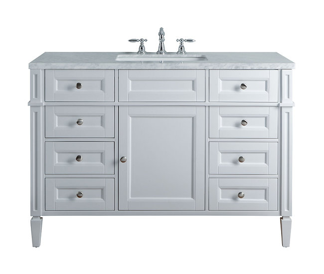 "Anastasia French 48"" White Single Sink Vanity"