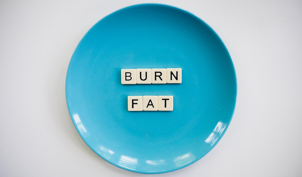 burn fat spelt out on a plate