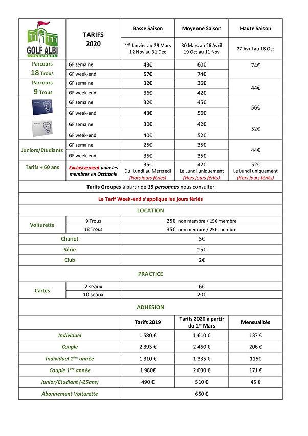 Tarifs 2020 Golf Albi Lasbordes