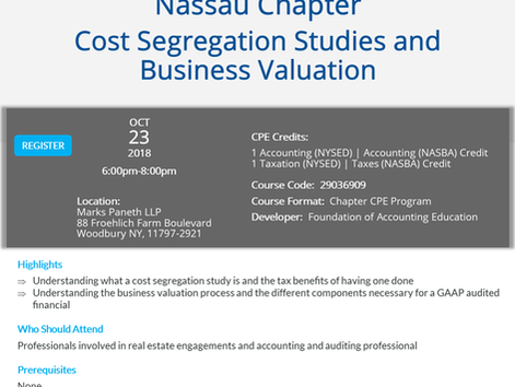 Oct 23rd NYSSCPA CPE Event - Cost Segregation & Business Valuation