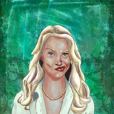 Female painting portrait