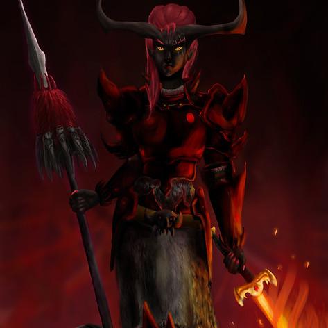 Thiefling warrior illustration