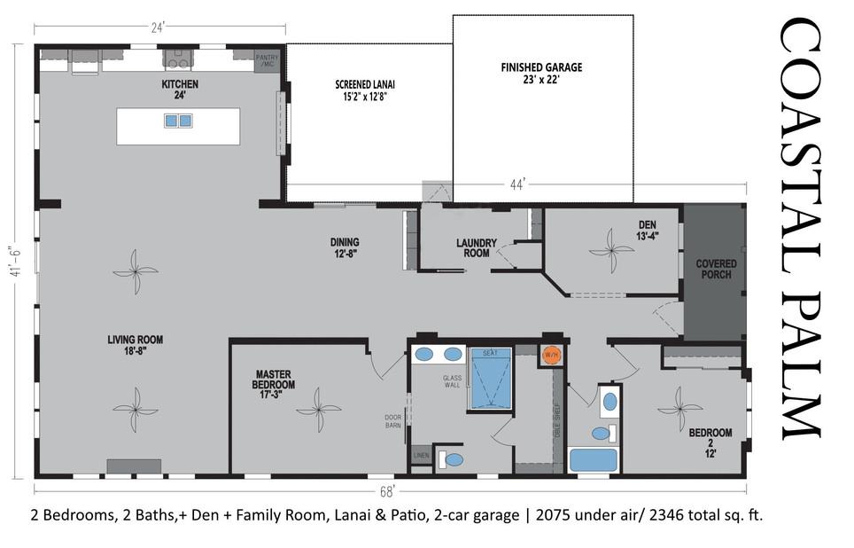 Coastal Palm Floorplan with Lanai and garage, model 6400