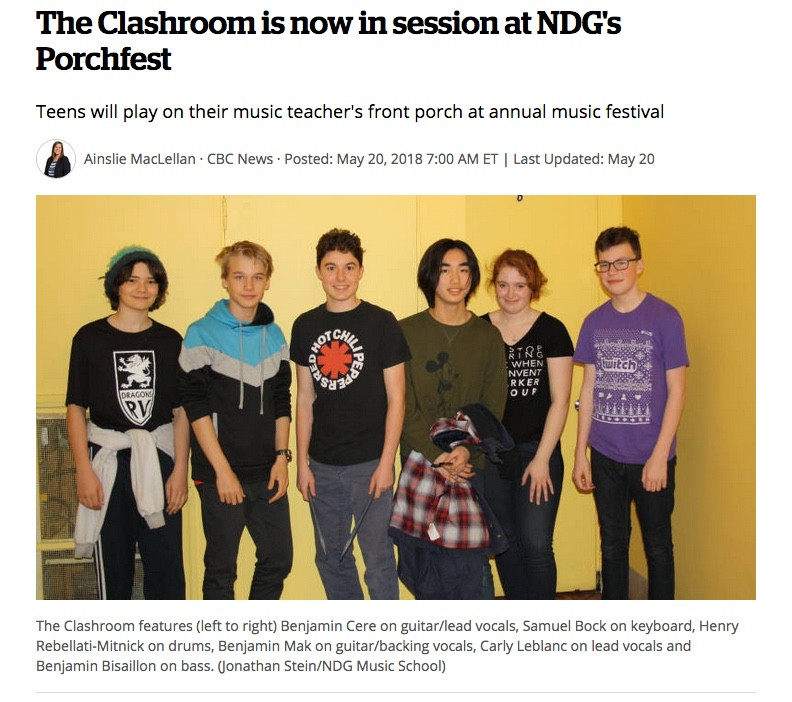 CBC.ca Article on NDG Muisc School