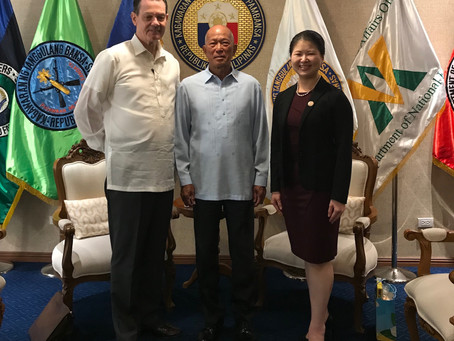 Foundation Directors Dr. Elizabeth Chan and David day met with Philippine  Secretary of Defense Delf