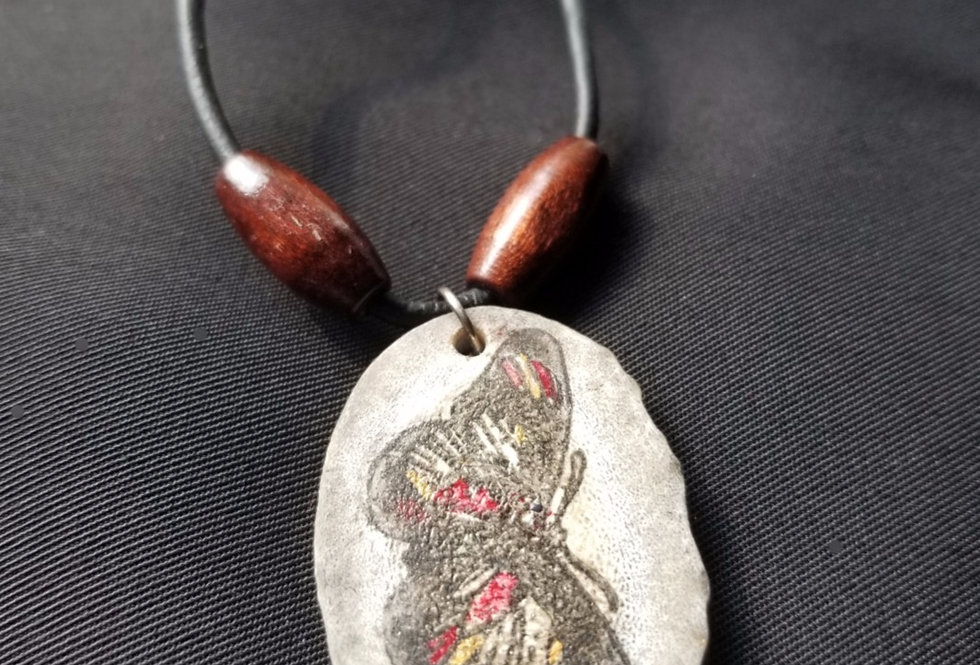 Deer Antler Necklace with Painted Butterfly