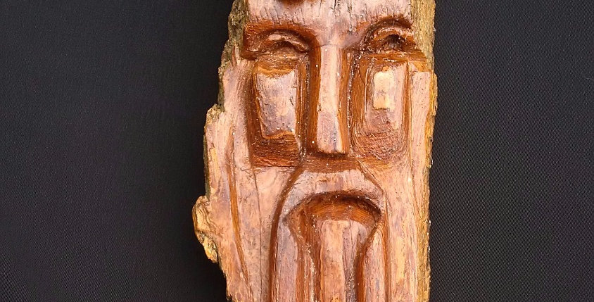 Bark Spirit Carving - Wise Old Man (Cottonwood)