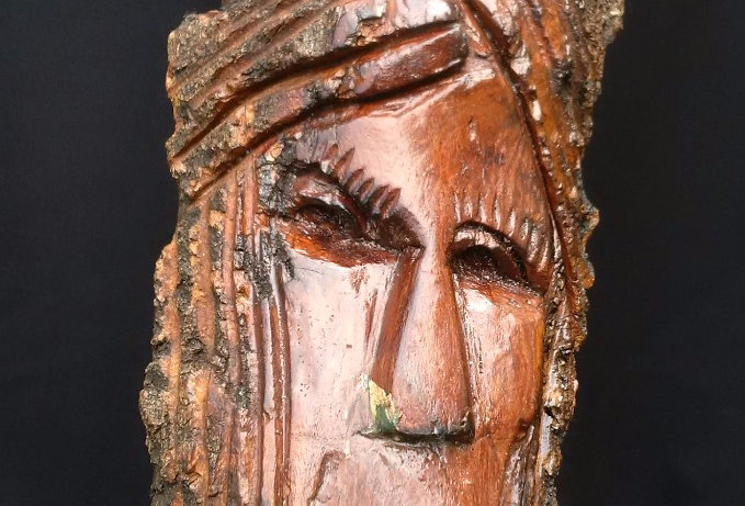 Bark Spirit Carving - Hard Work (Cottonwood)