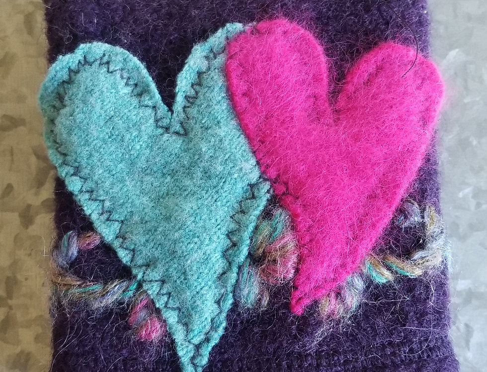 Coffee Cozy - Purple, Turquoise & Pink Hearts