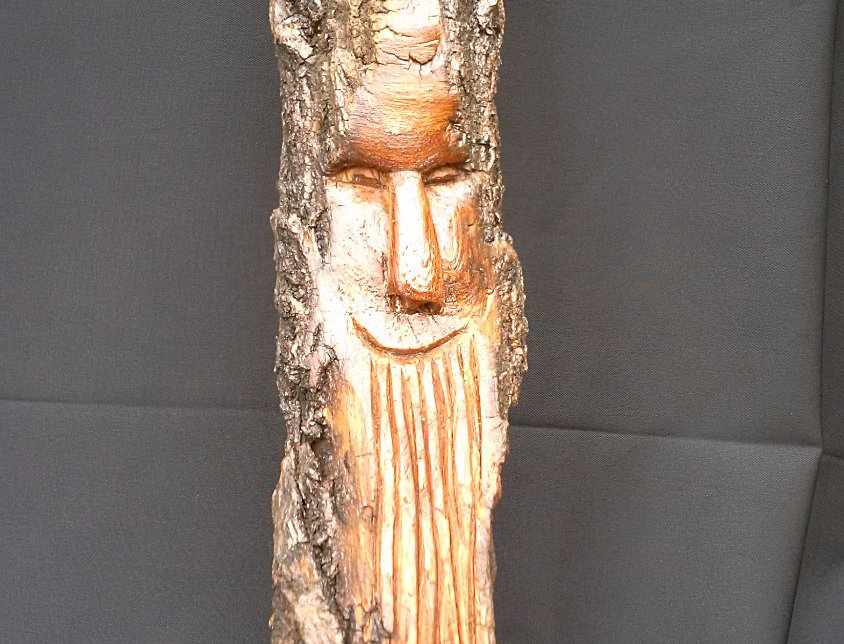 Bark Spirit Carving - Happy Days (Cottonwood)
