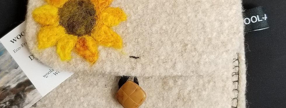 Needle Felt Wool Clutch - Sunflower on Creme