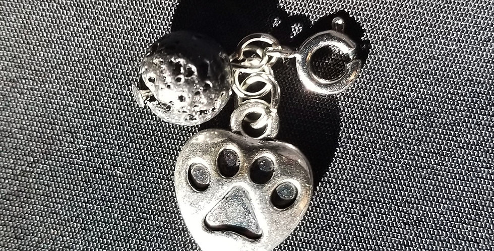 Paw Print Dreamcatcher Keychain with Lava Bead for Essential Oils