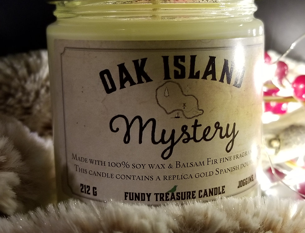 Oak Island Mystery Candle - Balsam Fir with Doubloon Inside