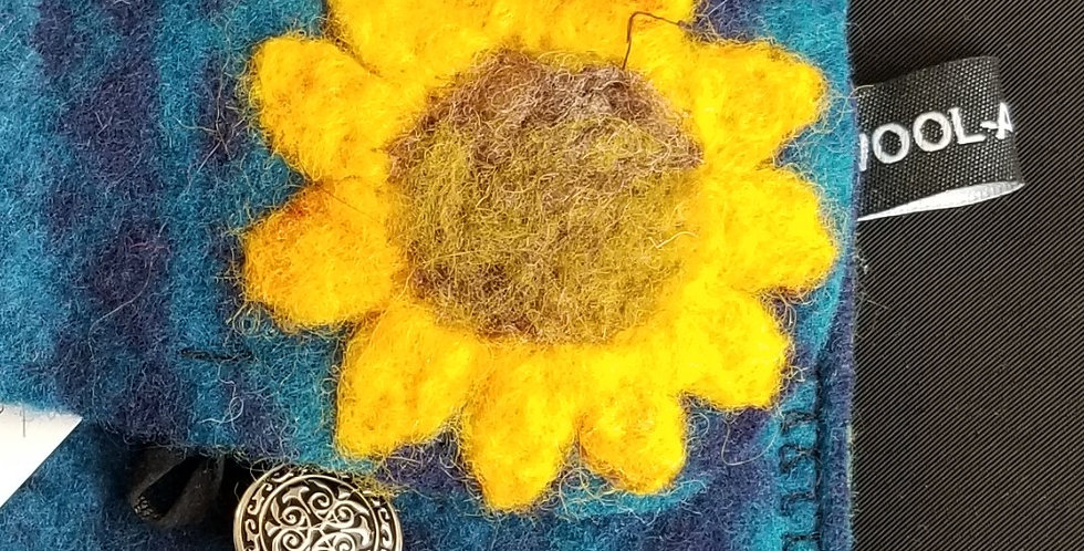 Needle Felt Wool Clutch - Sunflower on Blue