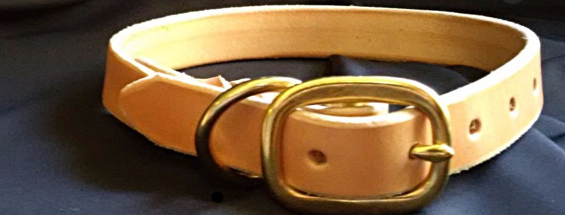 Brown Braided Leather Dog Collar