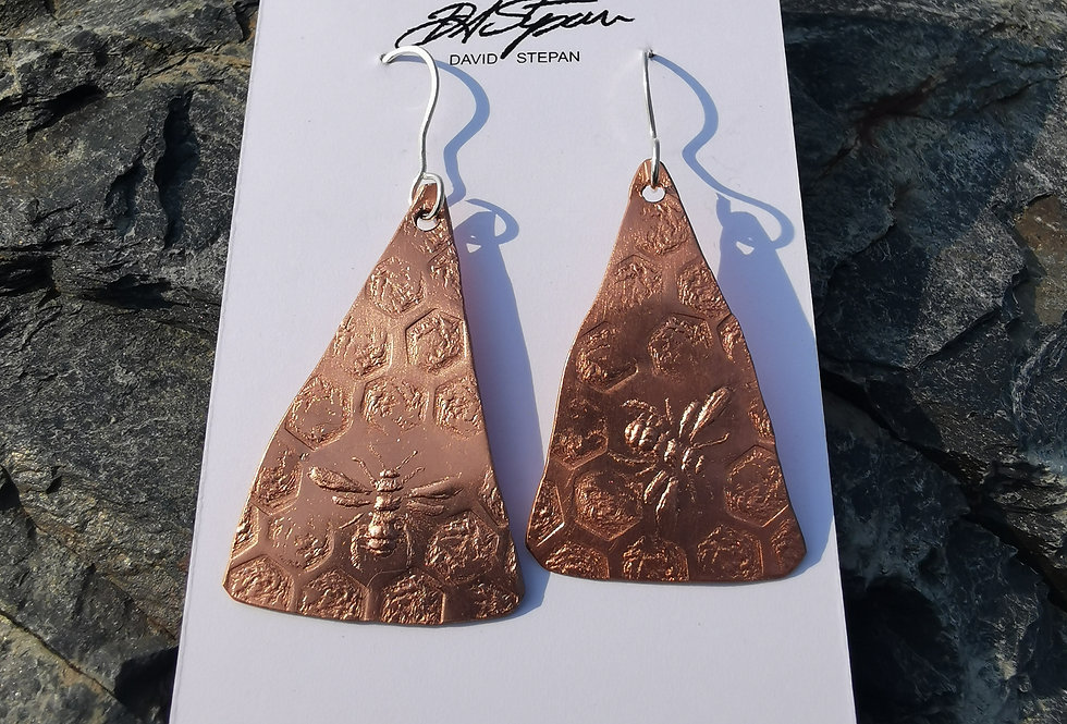 Bumblebee Copper Earrings - Triangle