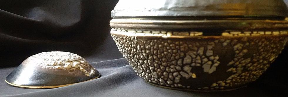 Pottery Urns - Medium Size - Grey-Black, Burnt Orange & Sea Barnacles