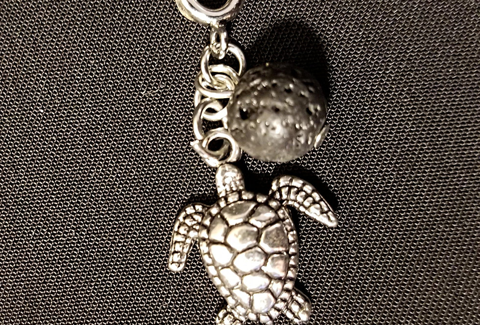 Turtle Dreamcatcher Keychain with Lava Bead for Essential Oils