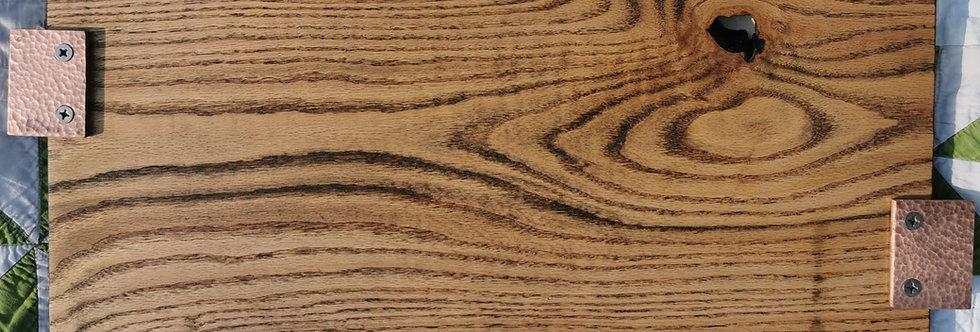 Ebonized Oak Charcuterie Board with Copper Handles
