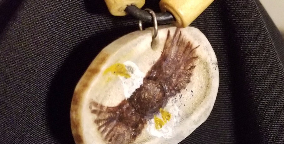 Deer Antler Necklace with Painted Eagle