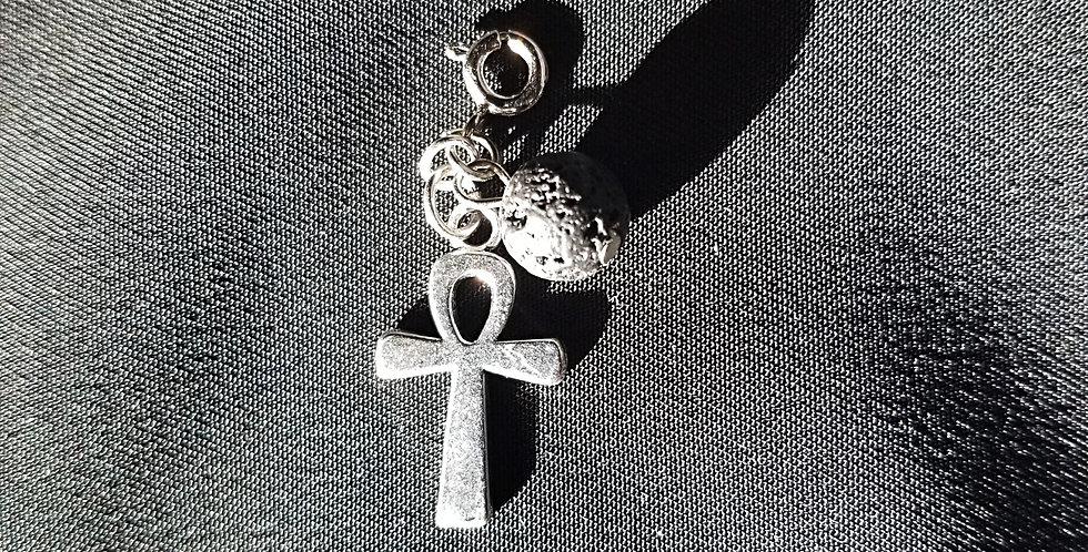 Ankh Dreamcatcher Keycharin Lava Bead for Essential Oils