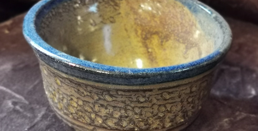 Small Dish with Imprints - Blue / Brown Glaze