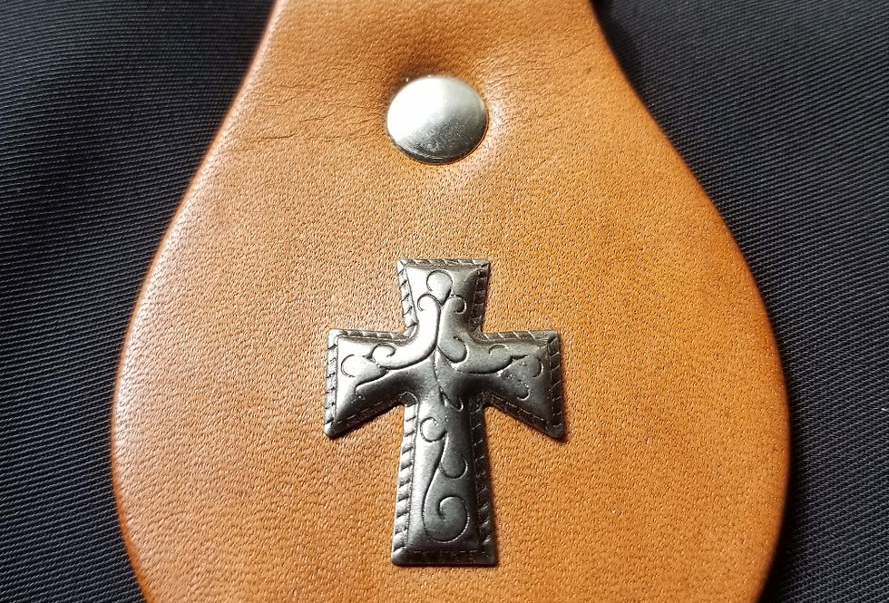 Leather Key Chain - Cross