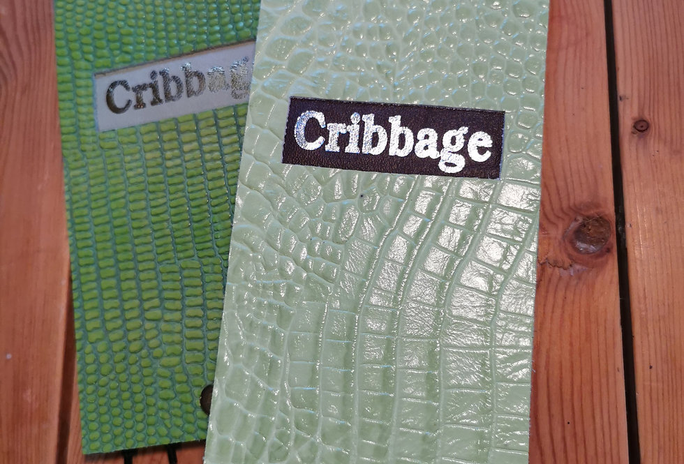 Green Leather Cribbage Board