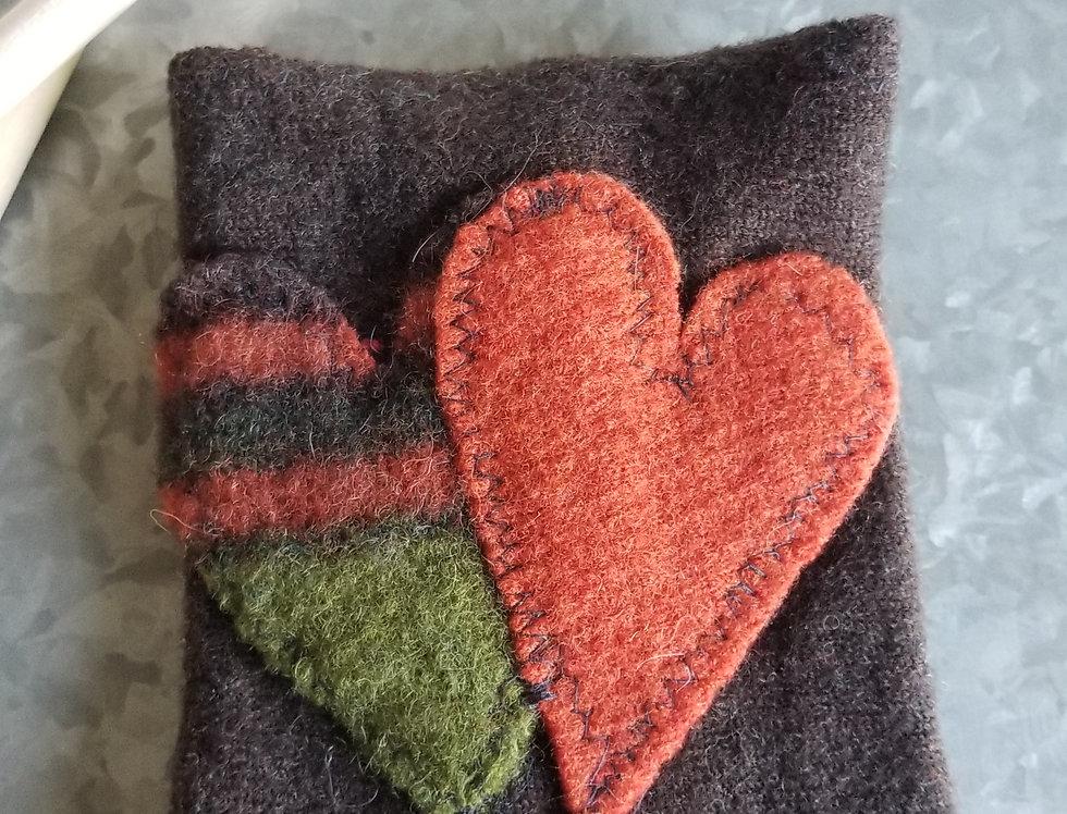 Coffee Cozy - Brown, Orange & Green Hearts