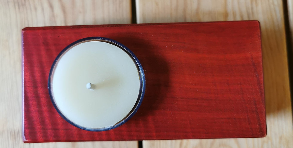 Wooden Candle with Match Holder