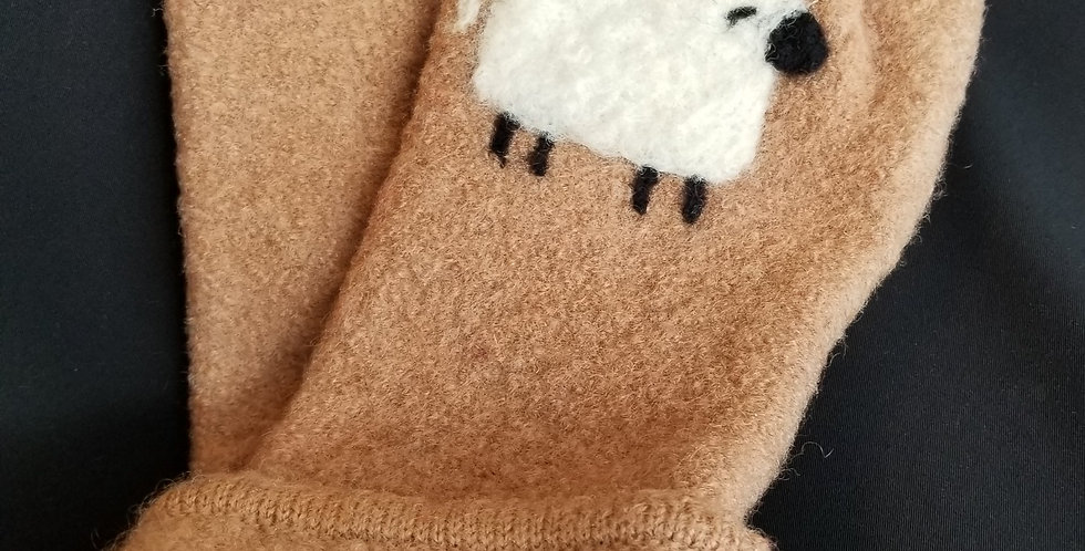 Wool Arm Mitts -  Tan with White Lamb