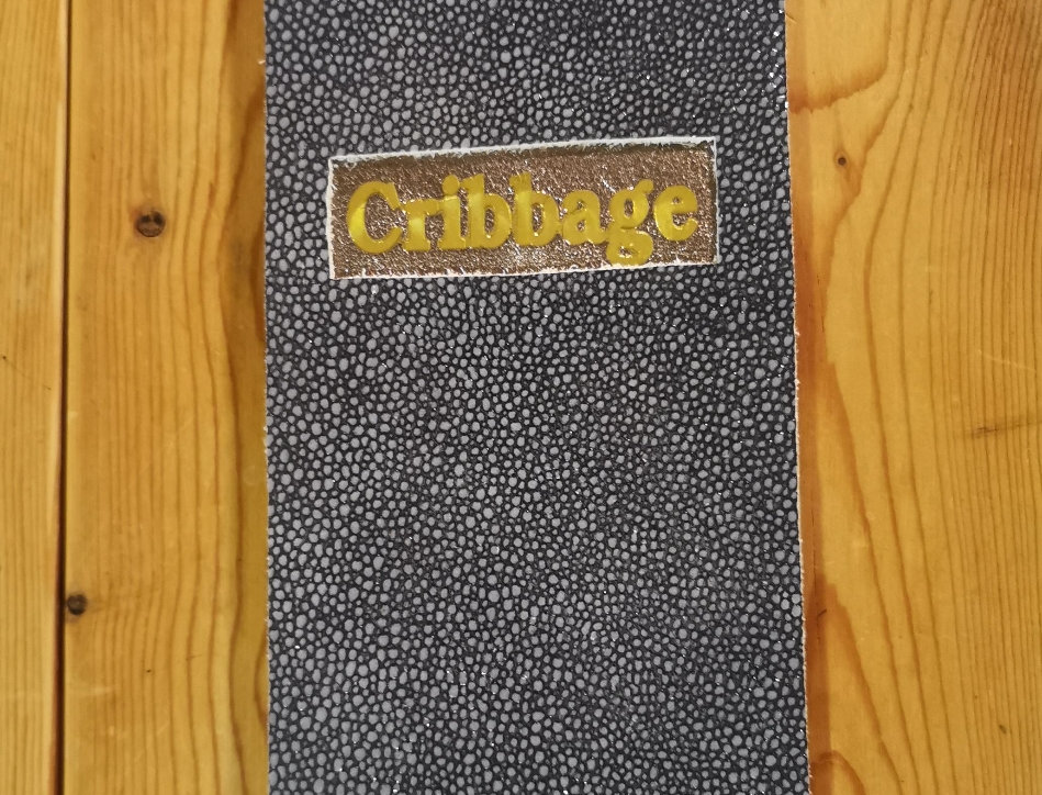 Blue Leather Cribbage Board
