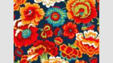 Tecido com fundo azul com flores laranjas ref:20258c01