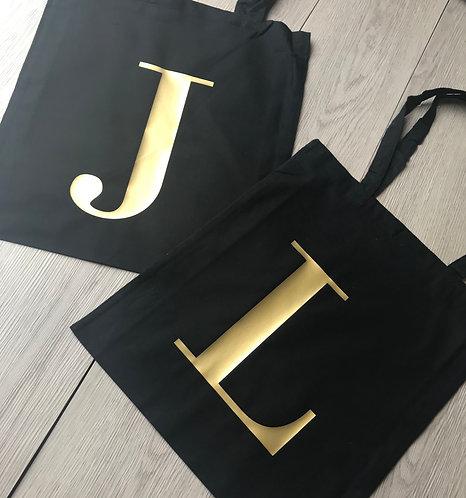 Black Cotton Shopping Bag, Personalised