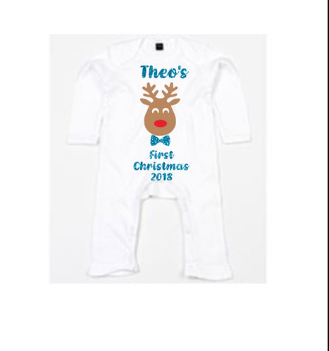 First Christmas Reindeer Romper, Personalised, baby first Christmas romper, white baby romper, rivagifts