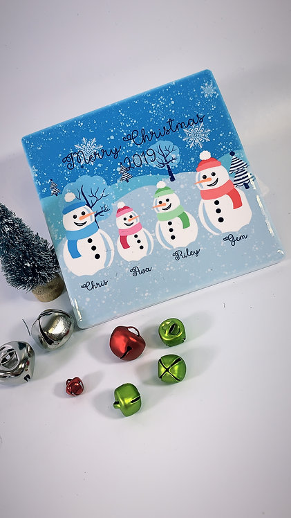 Christmas Ceramic Family Printed Coaster, Snowman, RIVA Gifts