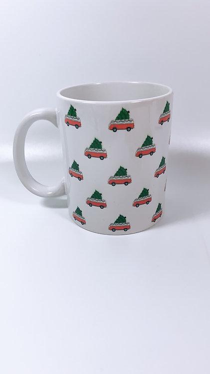 Mini Christmas Cars on a Mug