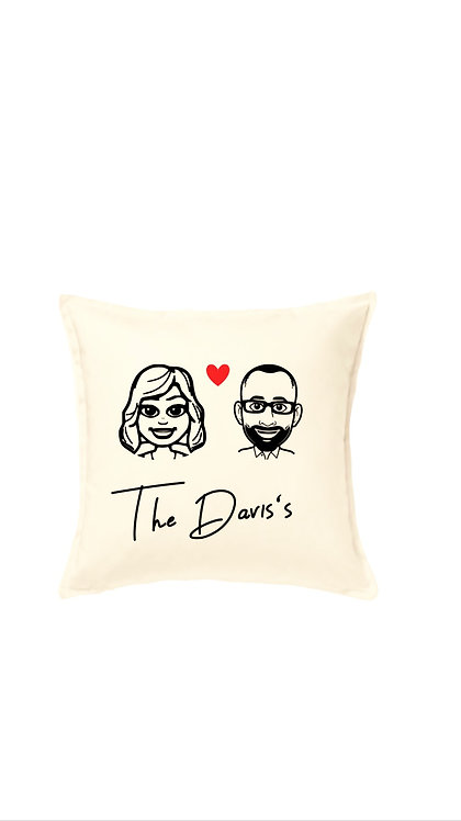Cartoon Couple Cushion Cover , Family, Personalised Caricature, Weston super mare, riva gifts