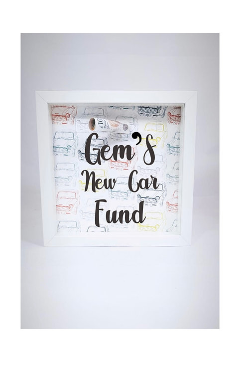 Personalised Money Box Weston super mare, personalised teen gifts Weston, new car money box
