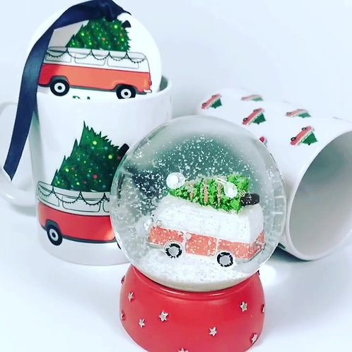 Personalised Christmas Campers gift set.. Mug, Bauble,Snow Globe, Rivagifts