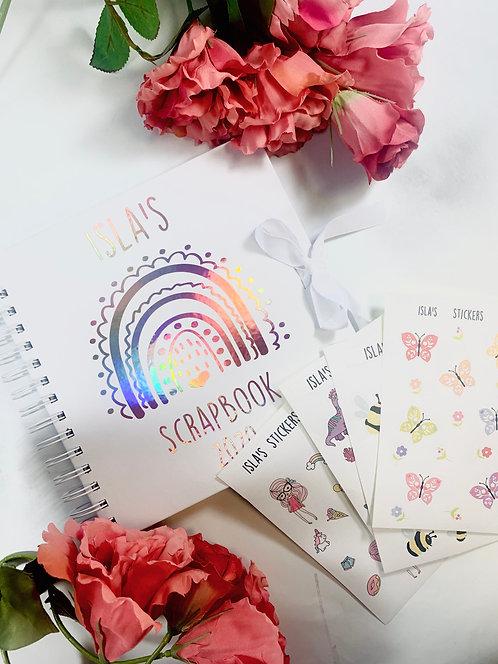 Metallic Sticker Journal Scrapbook, With Personalised Stickers