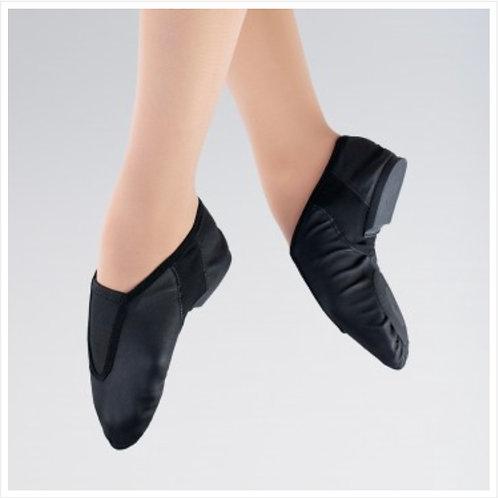 1st Position Stretch Leather Front Gusset Flex Jazz Shoe, Split sole, JSflex