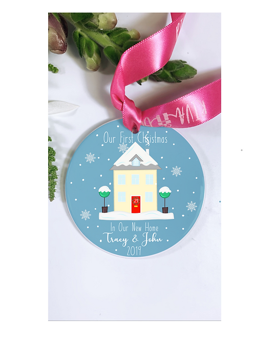 New Home Christmas Ceramic Personalised Bauble, 7.5cm