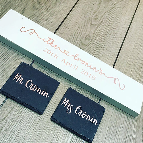 Wooden Family Sign and coaster set, new home, nursery decor, new