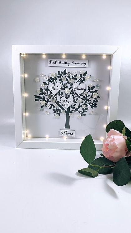 Anniversary Tree Frame, Personalised 25cm With LED Lights