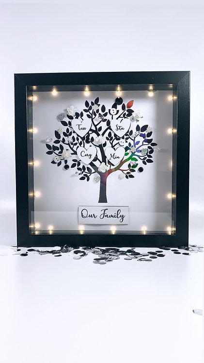 Family Tree Frame With Lights, Personalised 25cm With LED Lights