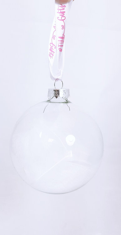 Glass Bauble, Feathers , Personalised